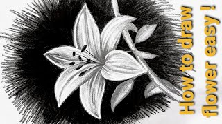 How To Draw Flower Easy | Flower Pencil Shading For Beginners