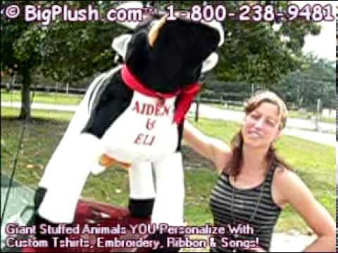 Send A Personalized Custom Imprinted Giant Stuffed Cow And Big