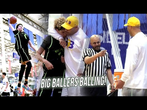 "LaMelo Starts Off HOT + Tries Dunking While Refs Break Up ""Fight"" - Big Ballers Go UNDEFEATED!"