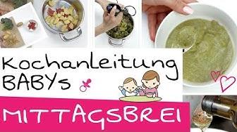Babybrei selber kochen   Babys vollständiger Mittagsbrei + Nachtisch