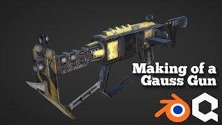 Modelling and Texturing a Gauss Gun (Timelapse)