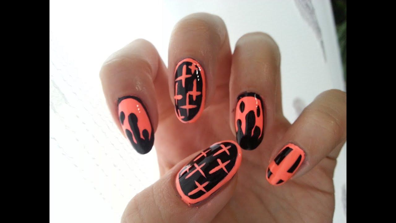 Halloween Neon Nails - YouTube