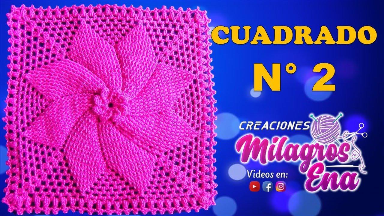 Cuadrado Tejido A Crochet Estrella En Relieves Para Cojines Colchas