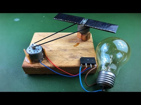 Solar Energy , Electricity Free Energy Generator With Light Bulb Using DC Motor
