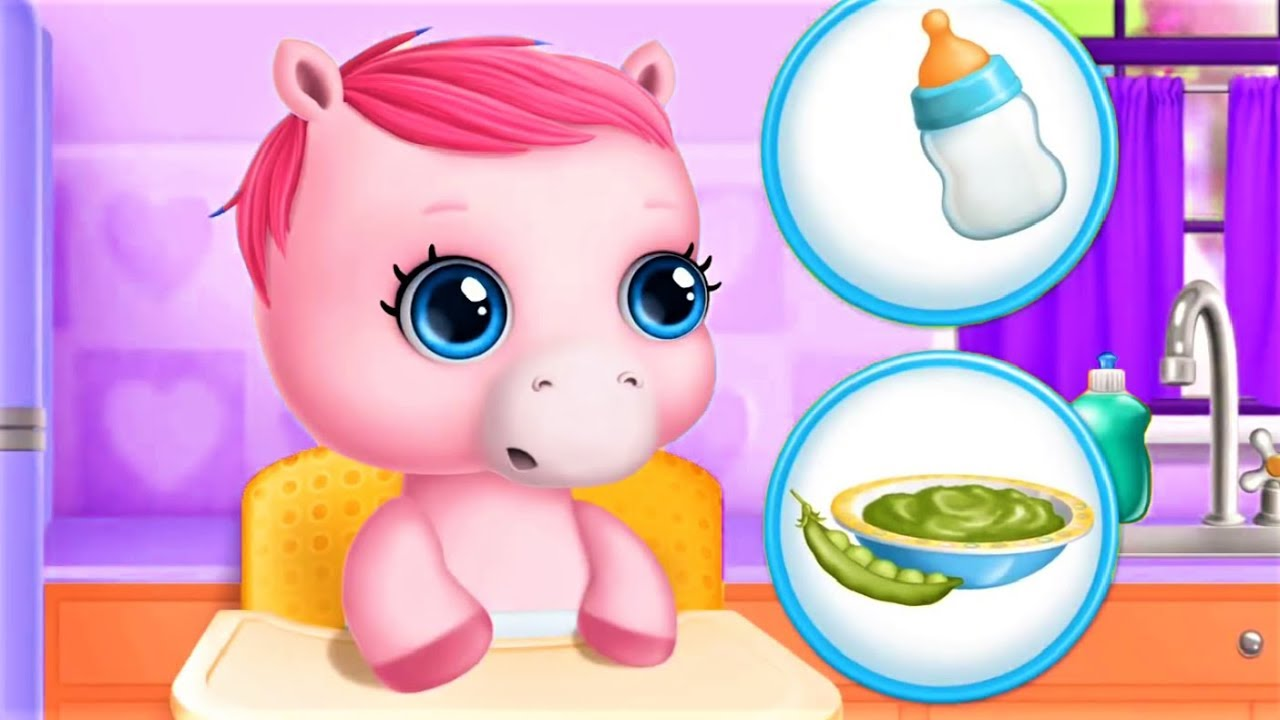 Pony Pet Care Games - Play Bathing, Change Diapers Dress Up & Feed Baby Horse - Funny Video Game