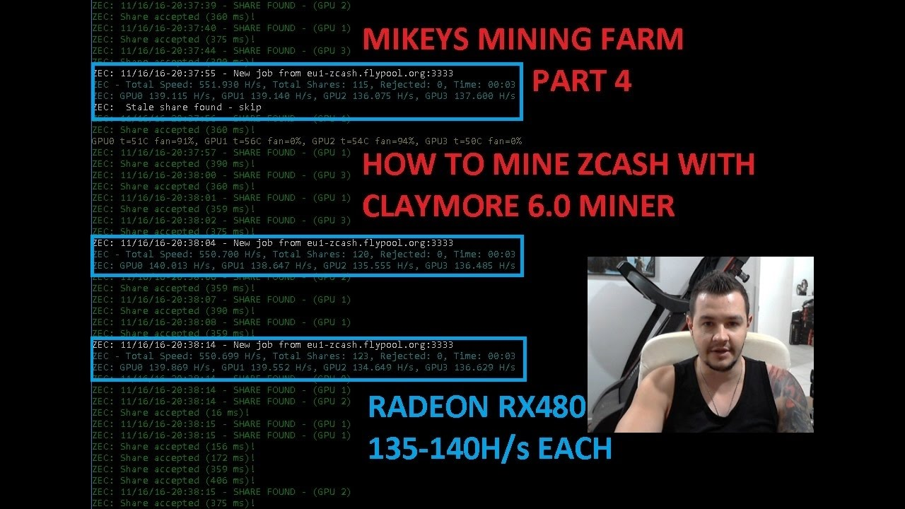 Zcash and Ethereum GPU Mining Farm Radeon RX480 - Part 4 How to Mine Zcash  Claymore 6 0