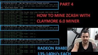 Zcash and Ethereum GPU Mining Farm Radeon RX480 - Part 4 How to Mine Zcash Claymore 6.0