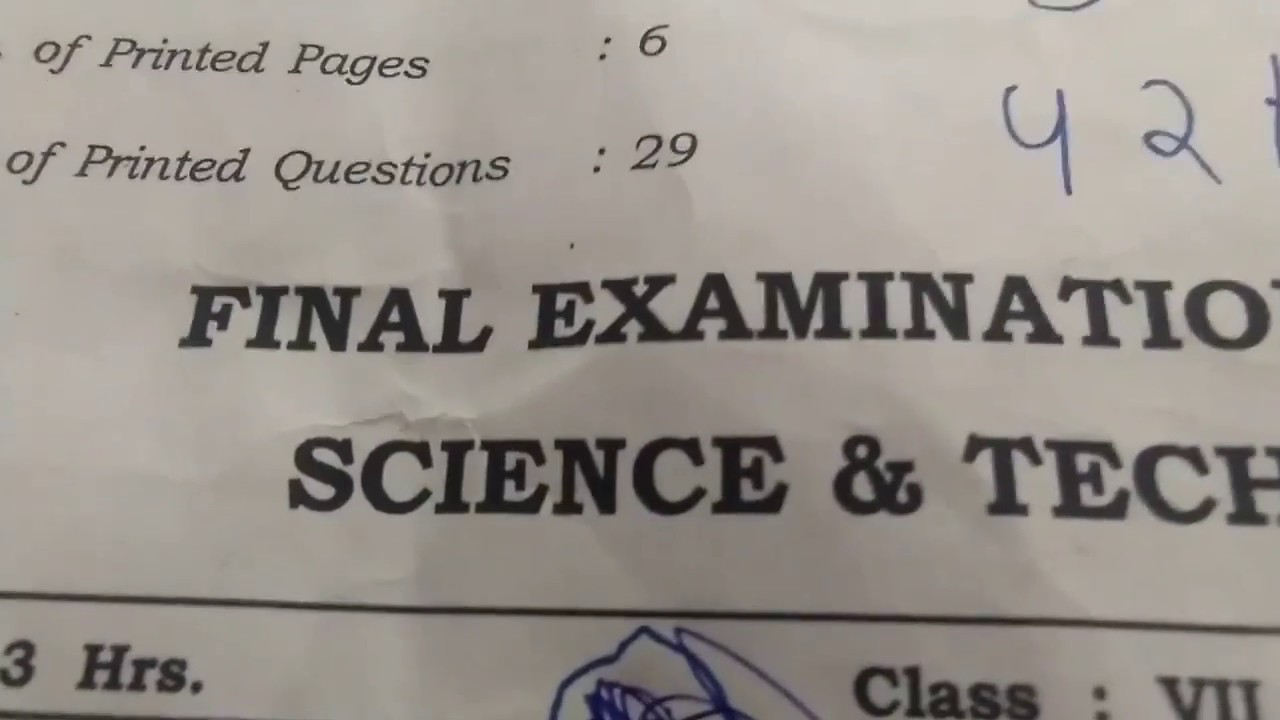 SCIENCE SA-2 QUESTION PAPER CLASS 7 2018