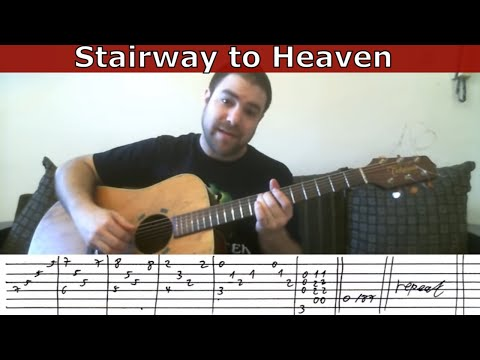 Tutorial: Stairway to Heaven - w/ TAB (How to play the entire song)