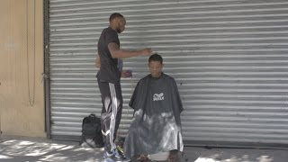 Haircuts For The Homeless On The Street!