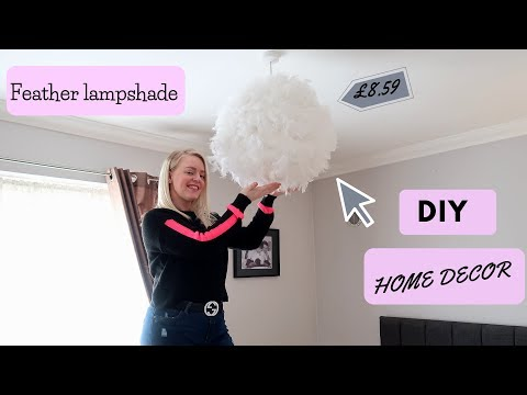 DIY Decor Feather LampShade! Learn How to Make your own feather lamp shade)