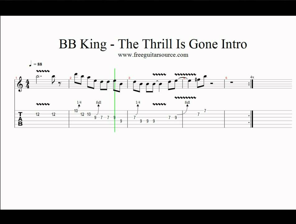 BB King - The Thrill Is Gone Intro Guitar Lesson - YouTube