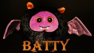 Beanie Ballz Batty FLYING TY Beanie Baby Plush Doll Bat Black Purple Color Big Eyes Cute
