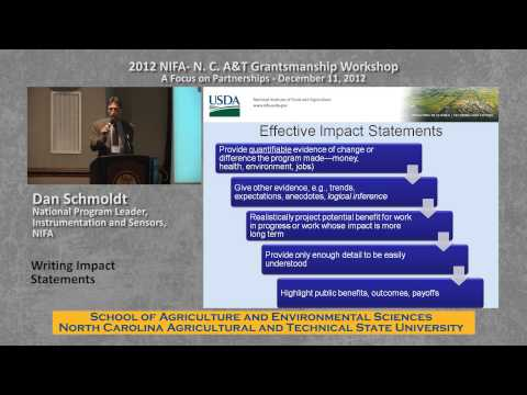 NIFA GRANTSMANSHIP MODULE 03 The Importance of Impact Statements and how to write them