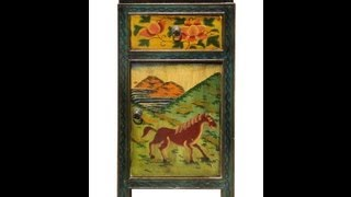 Tibetan Hand Painted Horse & Deer Graphic End Table / Night Stand F887