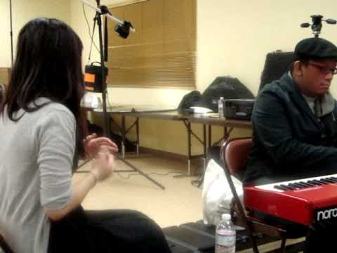 021310 JMI Backstage - Fallin' For You (practicing) - Cathy Nguyen & Bryan Keith