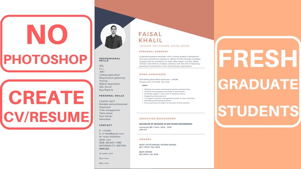How To Create A Designed Cv Resume For Fresh Graduate Online Canva