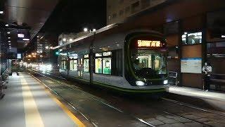 【響く!東洋IGBT】広島電鉄1000形1014号『GREENMOVERLEX』広電本社前 到着〜発車