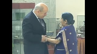 EAM Swaraj meets her French counterpart Jean-Yves Le Drian