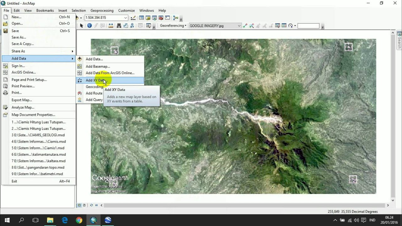 GEOREFERENCING GOOGLE IMAGERY IN ARCGIS