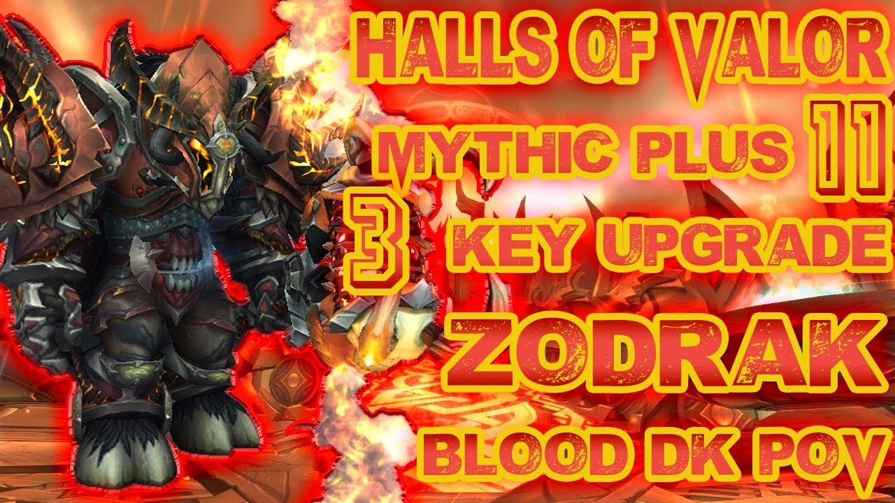 Halls of Valor Mythic Plus 11+3 Blood DK PoV - YouTube
