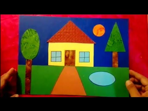 How To Make Scenery Of House Using Geometrical Shapes For Kids