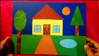 How to make scenery of House using geometrical shapes for kids - Step by step
