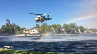 Helicopters gathering water for the fire in Calabasas