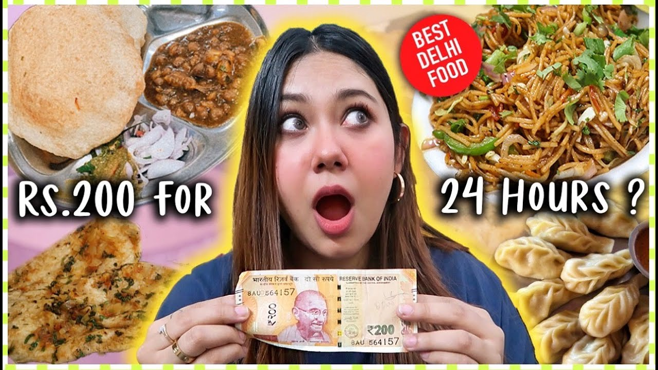 Living On Rs.200 for 24 Hours! BEST Delhi Food, Chole Bhature, Noodles | ThatQuirkyMiss
