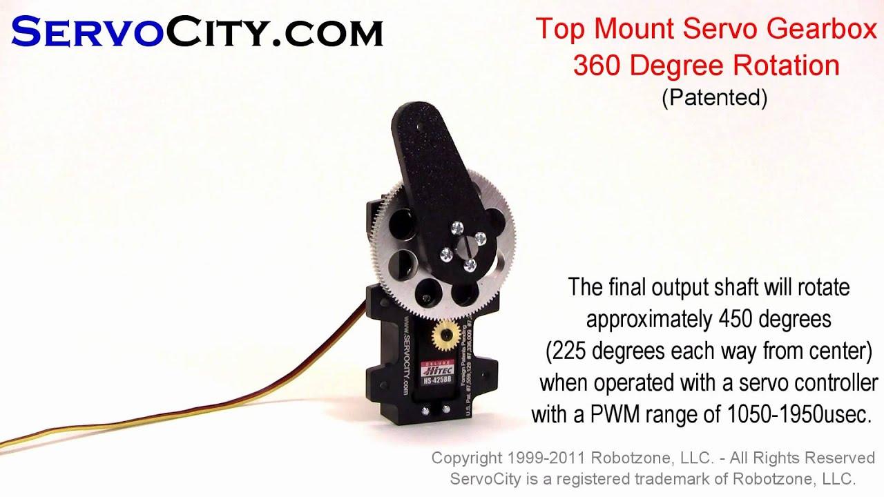 ServoCity com Top Mount Servo Gearbox 360 Degree Rotation