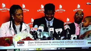 Zion Williamson Commits to Duke!! Crazy Reaction!!!!