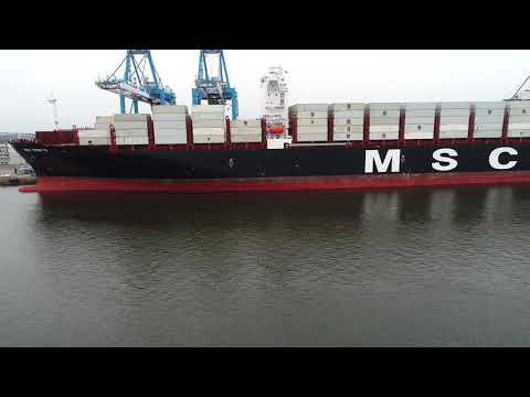Aerial Drone Video of Cargo Ship MSC Yashi B Delaware River Philadelphia