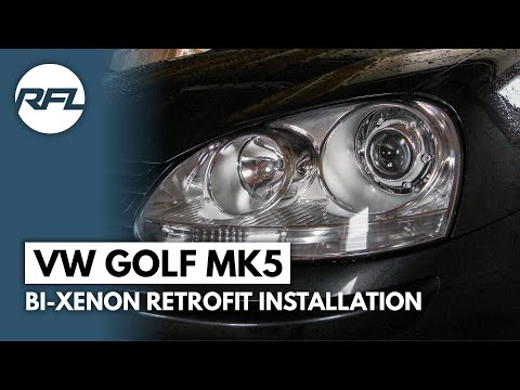 VW Golf MKV, 5, V, Bi xenon projector retrofit installation video