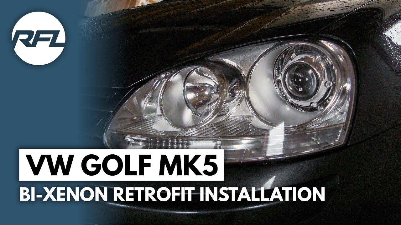 hight resolution of vw golf mkv 5 v bi xenon projector retrofit installation video