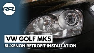 VW Golf MKV, 5, V, Bi xenon projector retrofit installation video