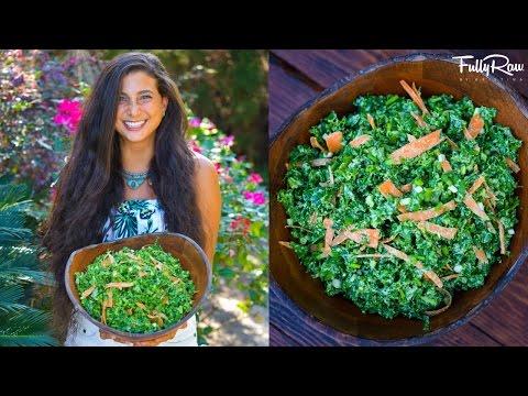 Cheesy Kale Salad Recipe! FullyRaw & Vegan!