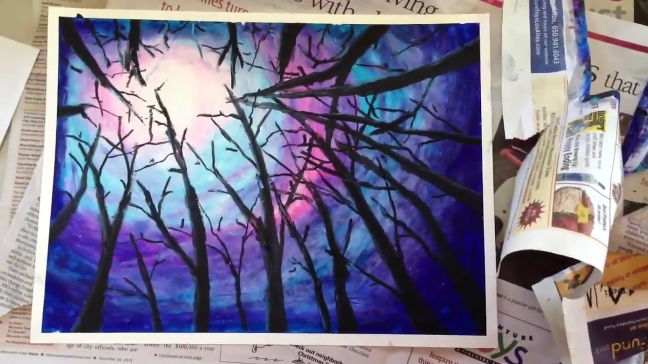 copy of painting oil pastel night sky in woods not asmr youtube