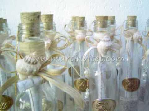 invitacin de boda para playa en botella con pergamino y estrella de mar o caracol youtube
