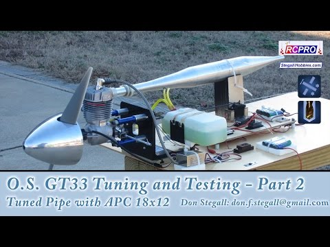O.S. GT33 Tuning and Performance - Part 2 - Tuned Pipe with APC 18x12