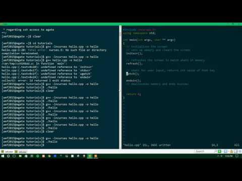 ncurses tutorial 0 - Hello World