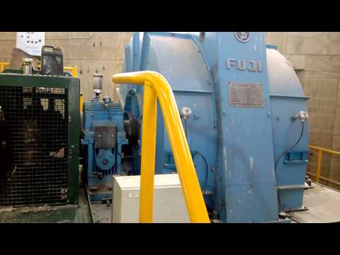 1250 Kw electric motor driving a 12000kg wood chipper disc Starting up