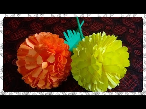How to make beautiful Marigold flower with paper / step by step easy Diy