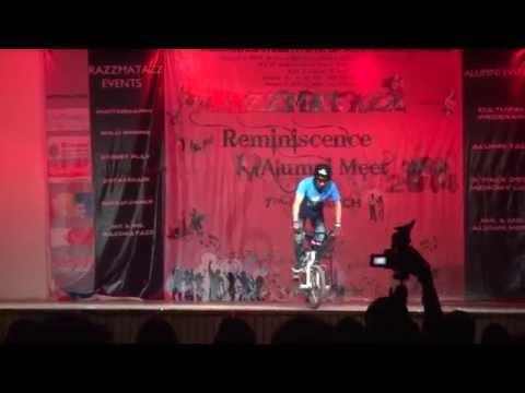 Siddharth Duggal performing BMX stunting at Rukmini Devi Public School