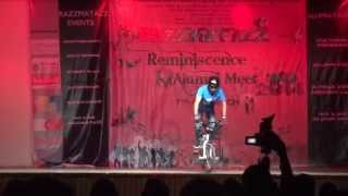 Siddharth Duggal performing BMX stunting at Rukmini Devi Public School