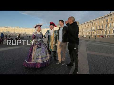 Russia: Football legend Collymore joins opera icon Gerello for pre-Confederations Cup kickabout