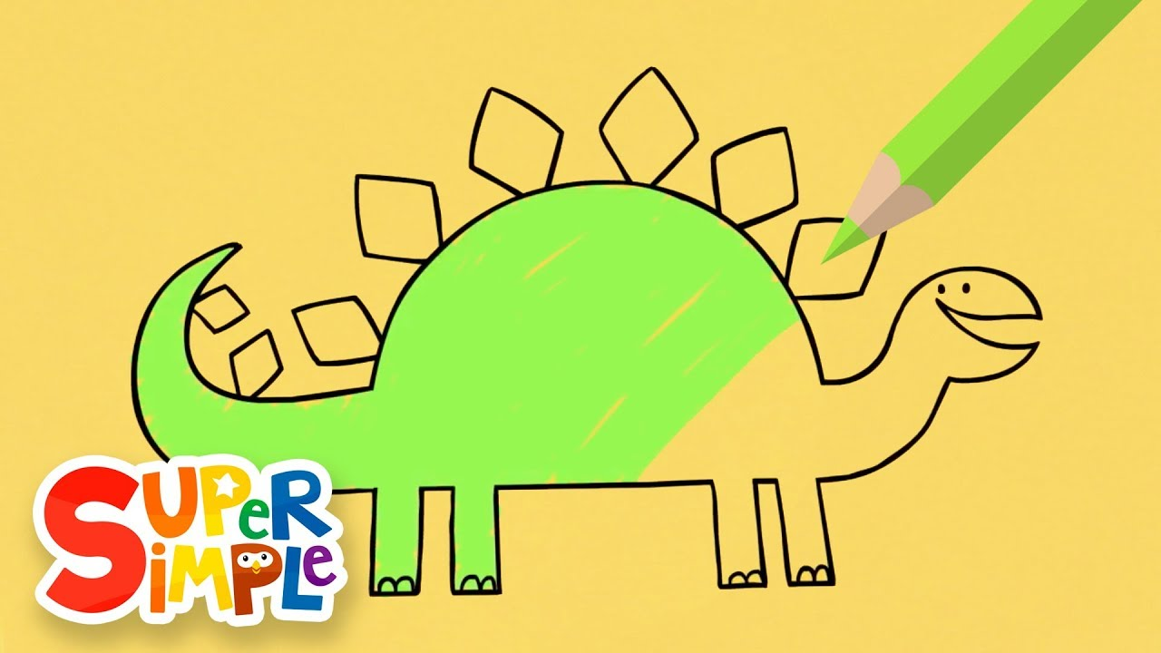 Drawing And Coloring A Stegosaurus | + More Drawings For Kids ...