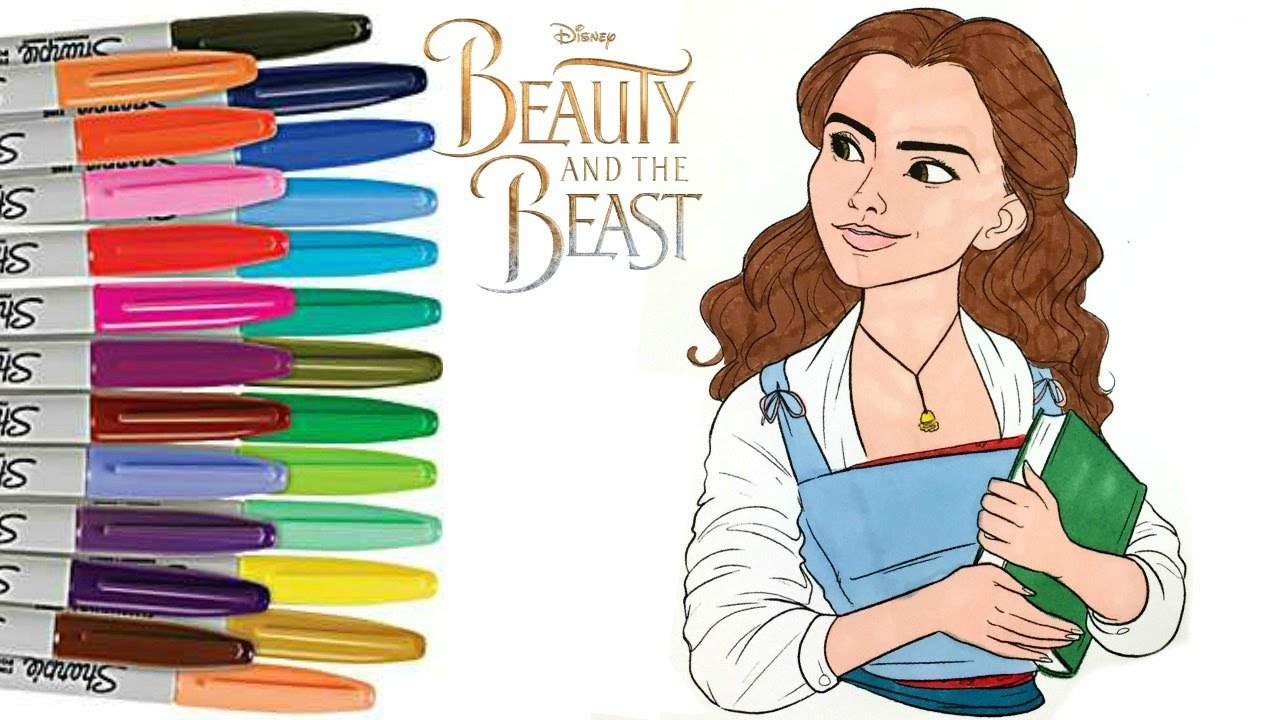 beauty and the beast emma watson as belle coloring book page how