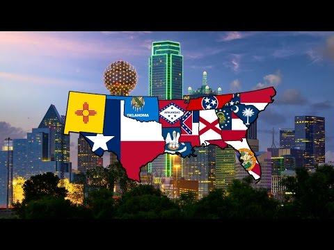 Flag Map Speedart - USA: The Southern States
