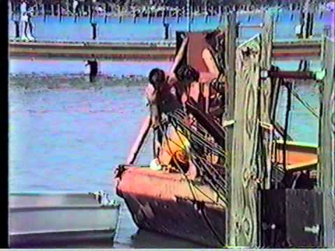 CAPT MICHAEL FAZIOS SELF PROPELLED CRANE BARGE DRAGON PORTING FOR FUEL PORT AUSTIN MICHiGAN 1988