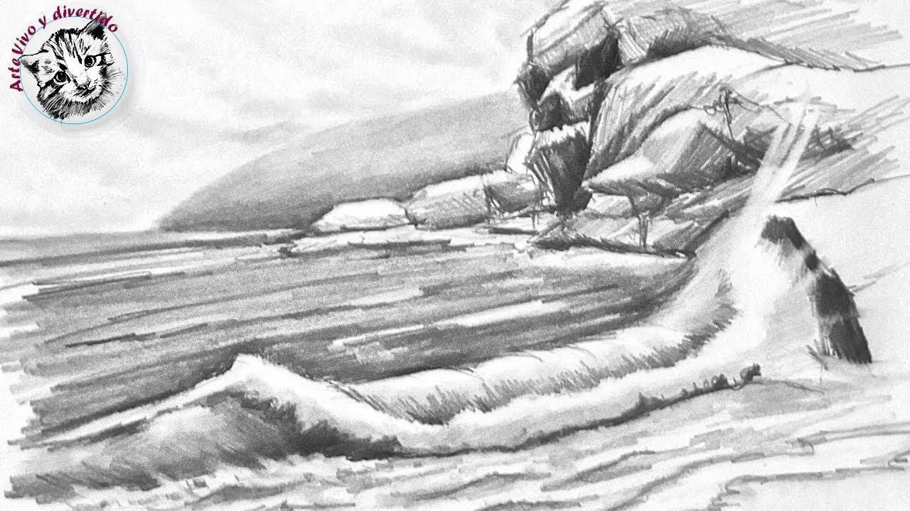 Como Dibujar una Marina CON UN SOLO LAPIZ paso a paso y muy FACIL